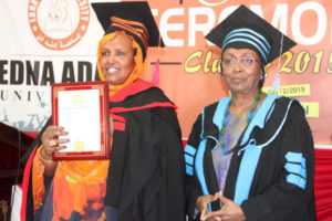 H.E. Amina Weris Sheikh Mohamed, the First Lady of Somaliland, receives an Honorary Doctorate in Maternal and Child Health