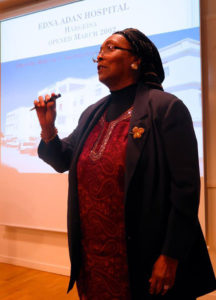 Edna speaking in Sweden about her work, in 2015